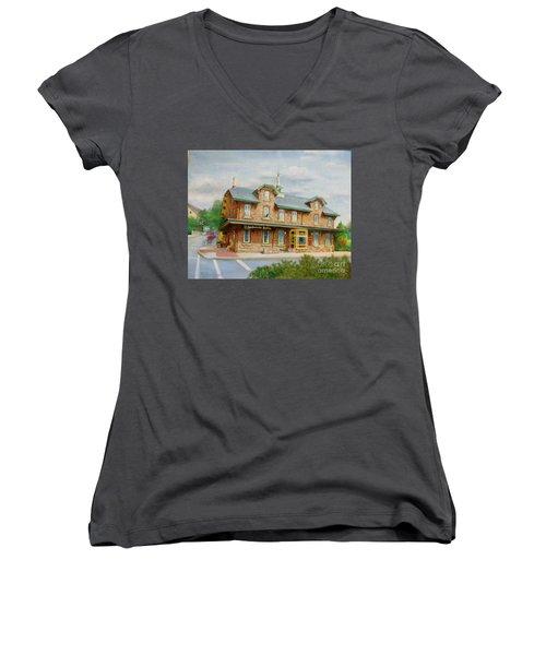 Women's V-Neck T-Shirt (Junior Cut) featuring the painting Lambertville Inn by Oz Freedgood