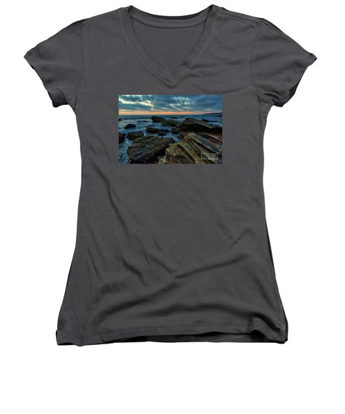 Last Light At Crystal Cove Women's V-Neck