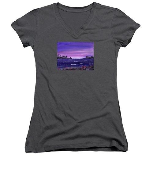 Lavender Sunrise Women's V-Neck T-Shirt (Junior Cut) by Jack G Brauer