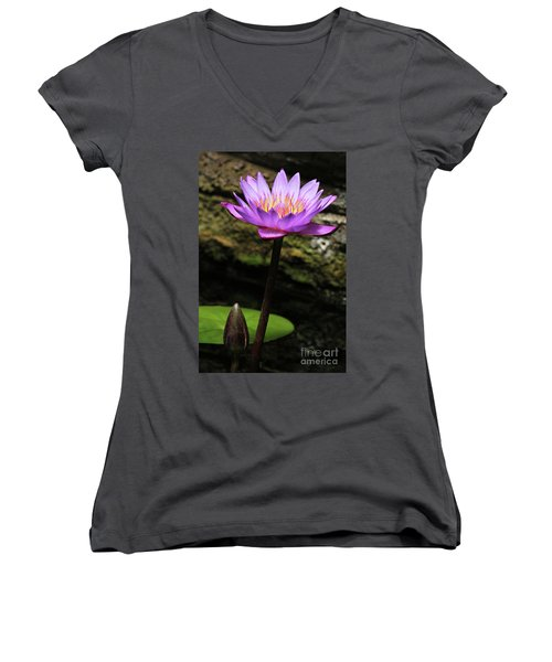 Lavender Water Lily #4 Women's V-Neck (Athletic Fit)