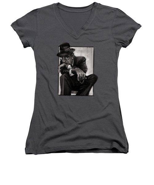 Leonard Cohen Women's V-Neck (Athletic Fit)