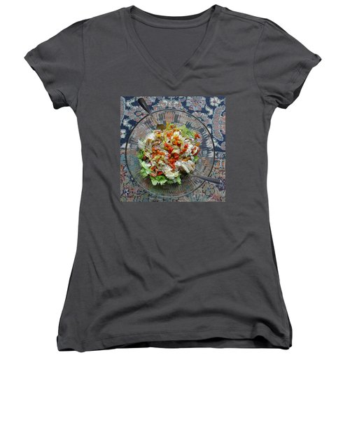 Women's V-Neck T-Shirt featuring the photograph Lets Do Lunch by Joel Deutsch