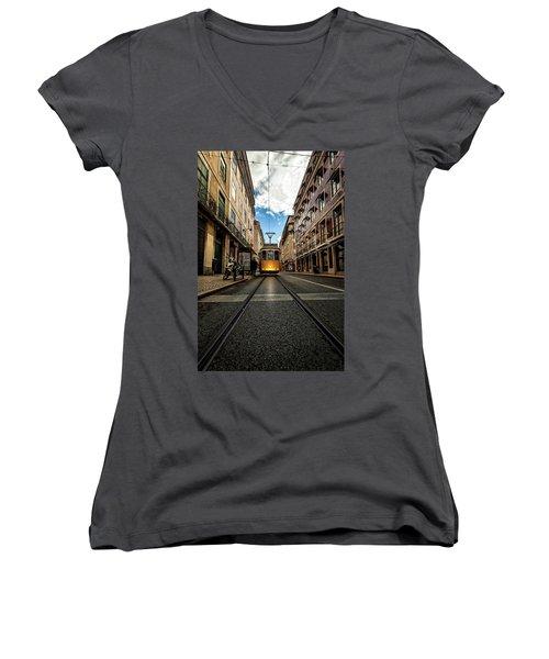 Women's V-Neck T-Shirt (Junior Cut) featuring the photograph Light by Jorge Maia
