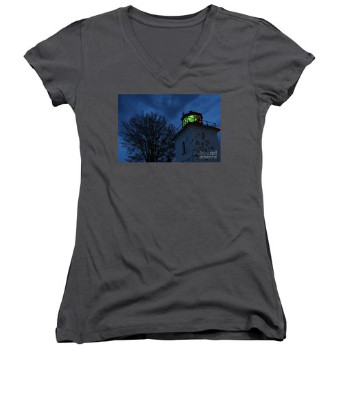 Lighthouse At Night Women's V-Neck (Athletic Fit)