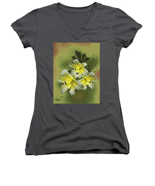 Women's V-Neck T-Shirt (Junior Cut) featuring the photograph Lily Trio by Judy Johnson