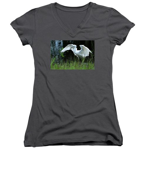 Little Blue Heron Hunting - Digitalart Women's V-Neck T-Shirt