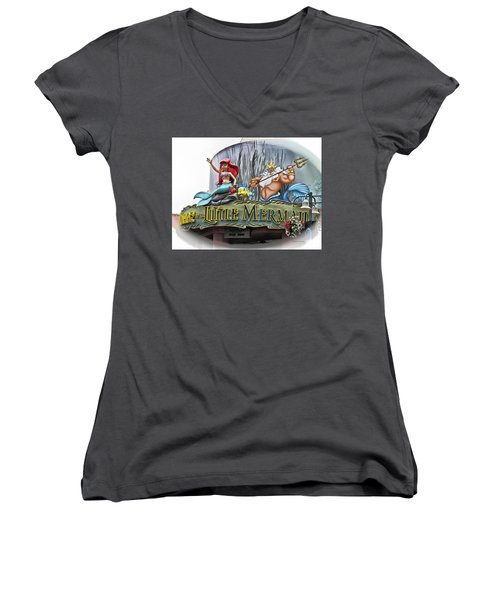 Little Mermaid Signage Mp Women's V-Neck T-Shirt