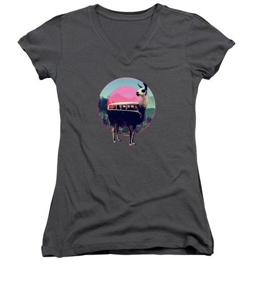 Llama Women's V-Neck T-Shirt (Junior Cut) by Ali Gulec