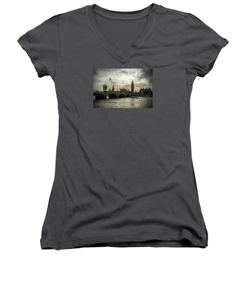London Women's V-Neck T-Shirt (Junior Cut) by Jaroslaw Grudzinski