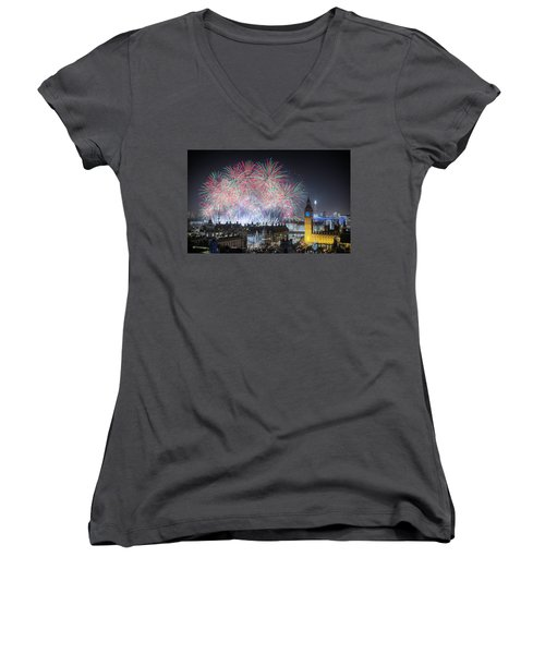 London New Year Fireworks Display Women's V-Neck (Athletic Fit)