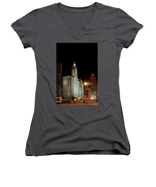 Looking North On Michigan Avenue At Wrigley Building Women's V-Neck