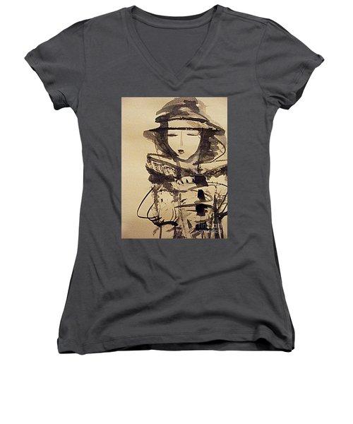 Lost In Thought Women's V-Neck T-Shirt (Junior Cut) by Nancy Kane Chapman