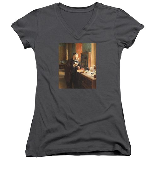 Louis Pasteur Women's V-Neck T-Shirt (Junior Cut) by Albert Edelfelt