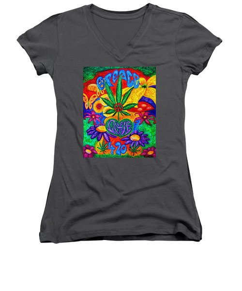Love And Peace Women's V-Neck (Athletic Fit)
