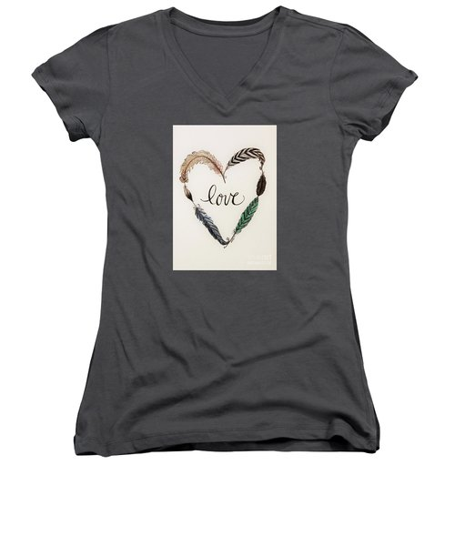 Feathers Of Love Women's V-Neck T-Shirt (Junior Cut) by Elizabeth Robinette Tyndall