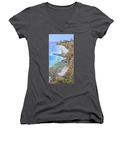 Low Tide Sunset Cliffs Women's V-Neck T-Shirt (Junior Cut) by Jane Girardot