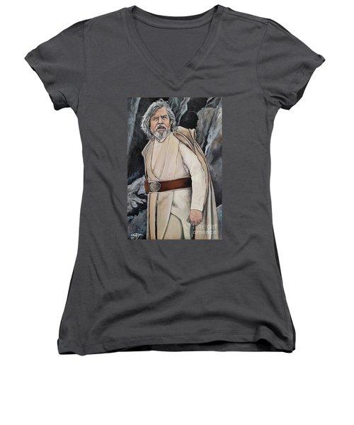 Luke Skywalker Women's V-Neck T-Shirt (Junior Cut) by Tom Carlton