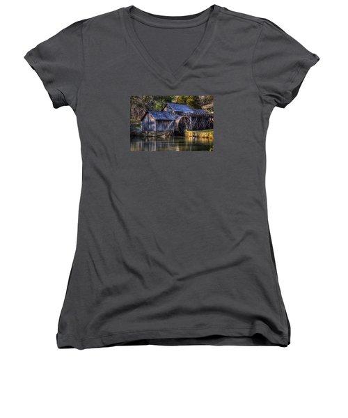 Mabry Mill Women's V-Neck T-Shirt (Junior Cut) by Steve Hurt