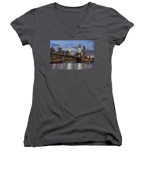 Women's V-Neck featuring the photograph Manhattan Skyline New York by Juergen Held