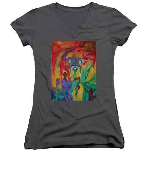 Mann I The Middle Women's V-Neck T-Shirt