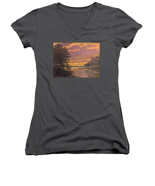 Women's V-Neck T-Shirt (Junior Cut) featuring the painting Marsh Sketch # 7 by Kathleen McDermott