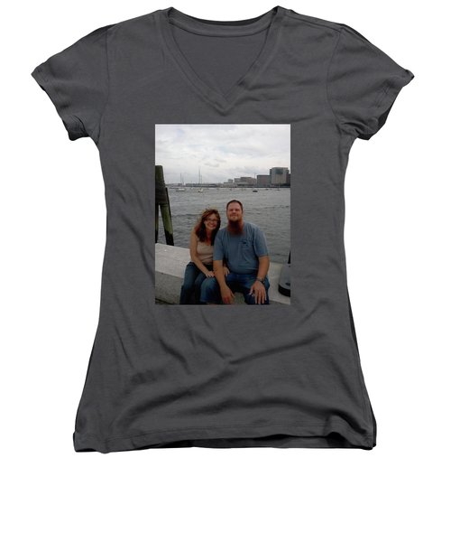 Women's V-Neck T-Shirt (Junior Cut) featuring the photograph me by Richie Montgomery