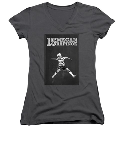 Megan Rapinoe Women's V-Neck T-Shirt (Junior Cut) by Semih Yurdabak