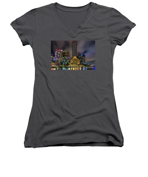 Melbourne City Skyline Over Yarra River  Women's V-Neck (Athletic Fit)