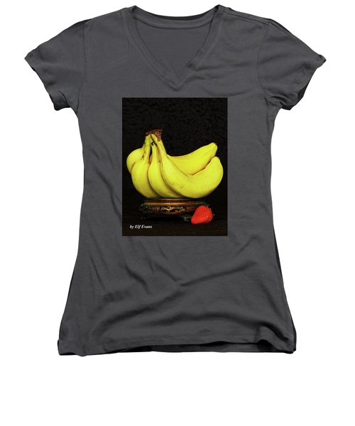 Women's V-Neck T-Shirt featuring the photograph Mellow Yellows And Red by Elf Evans
