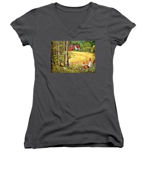Memories For Mom Women's V-Neck T-Shirt (Junior Cut) by Marilyn Smith