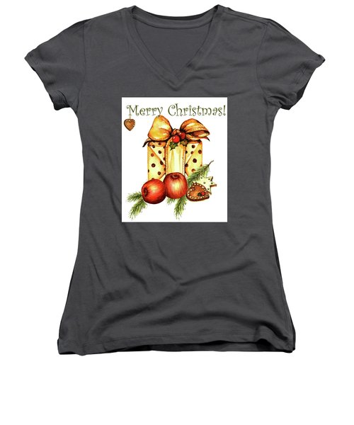 Women's V-Neck T-Shirt (Junior Cut) featuring the painting Merry Christmas by Heidi Kriel