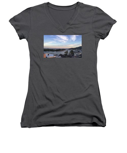 Women's V-Neck T-Shirt (Junior Cut) featuring the photograph Mexico Memories by Victor K