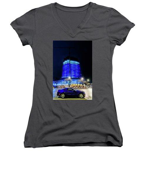 Women's V-Neck T-Shirt featuring the photograph Midnight Blues by Randy Scherkenbach