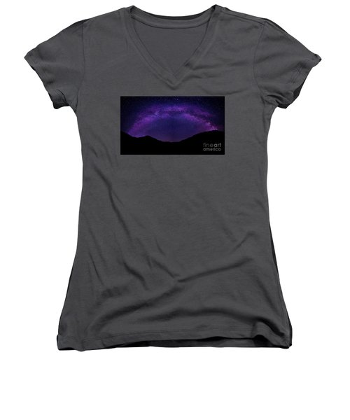 Women's V-Neck T-Shirt (Junior Cut) featuring the photograph milky way above the Alps by Hannes Cmarits