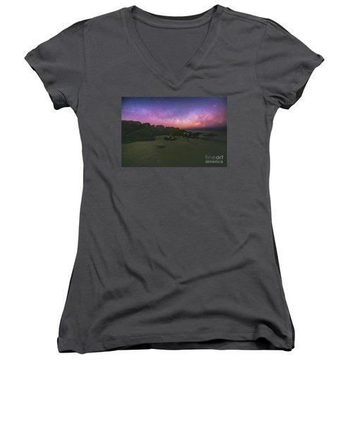 Milky Way Beach Women's V-Neck T-Shirt (Junior Cut) by Robert Loe