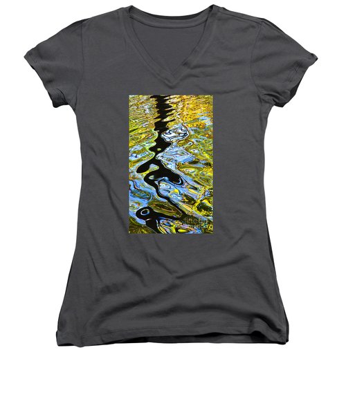 Women's V-Neck T-Shirt (Junior Cut) featuring the photograph Mill Pond Reflection by Tom Cameron