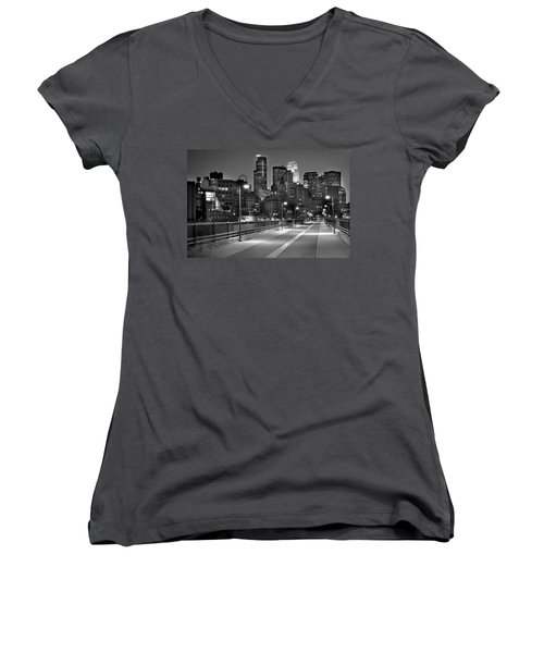 Minneapolis Skyline From Stone Arch Bridge Women's V-Neck T-Shirt