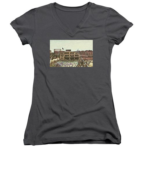 Women's V-Neck T-Shirt featuring the photograph Miramar Saltwater Pool  by Cole Thompson