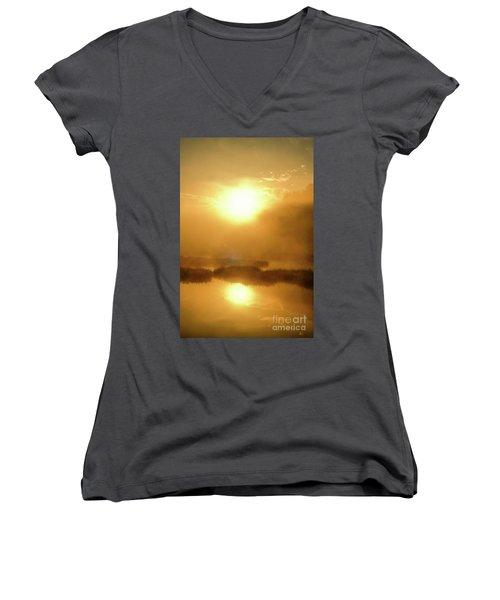 Women's V-Neck T-Shirt (Junior Cut) featuring the photograph Misty Gold by Tatsuya Atarashi