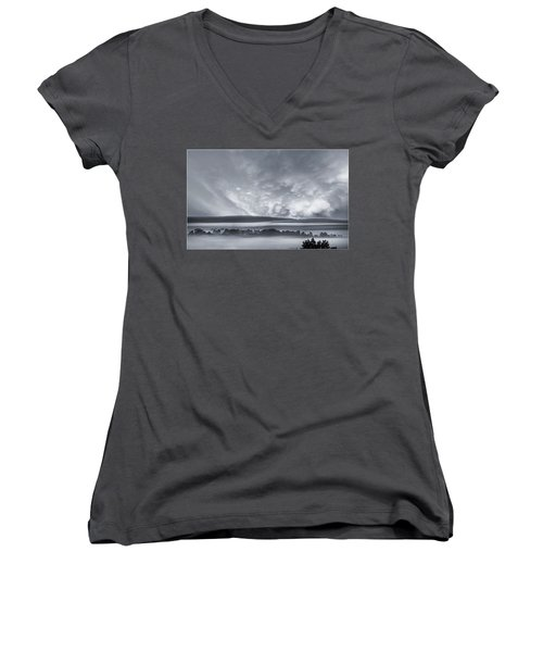 Misty Morning Women's V-Neck T-Shirt (Junior Cut)