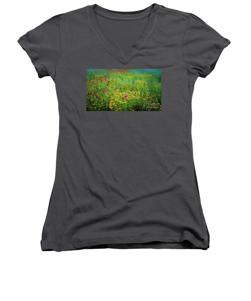 Mixed Wildflowers In Bloom Women's V-Neck