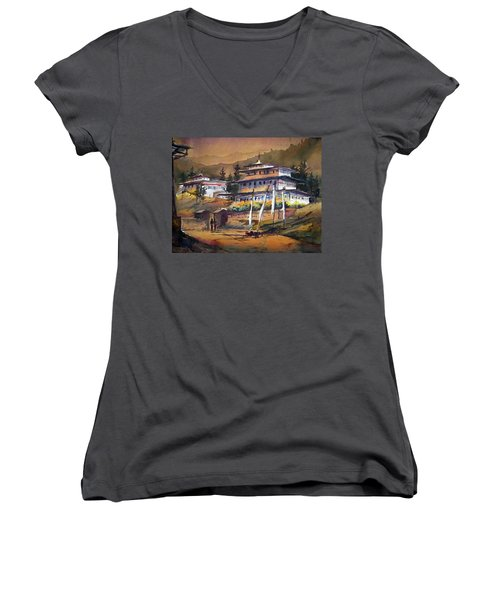 Women's V-Neck T-Shirt (Junior Cut) featuring the painting Monastery In Himalaya Mountain by Samiran Sarkstery in Himalaya Mountainar