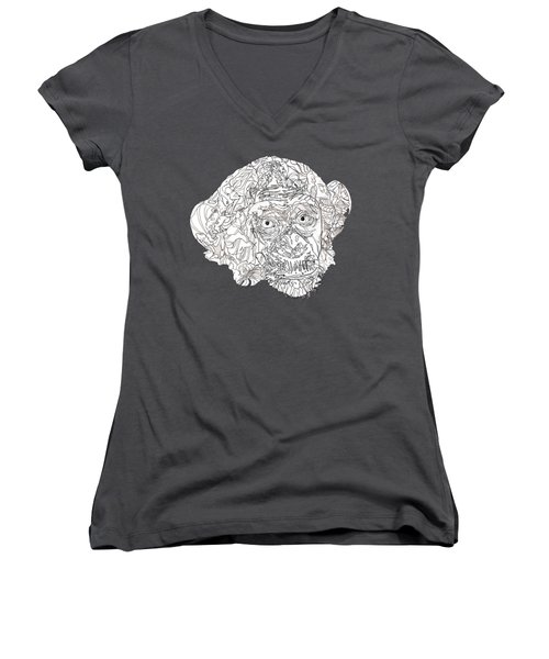 Monkey Women's V-Neck T-Shirt (Junior Cut) by Jacob Hurley