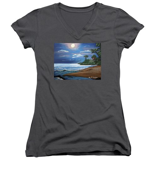 Moonlight In Rincon II Women's V-Neck T-Shirt (Junior Cut) by Luis F Rodriguez