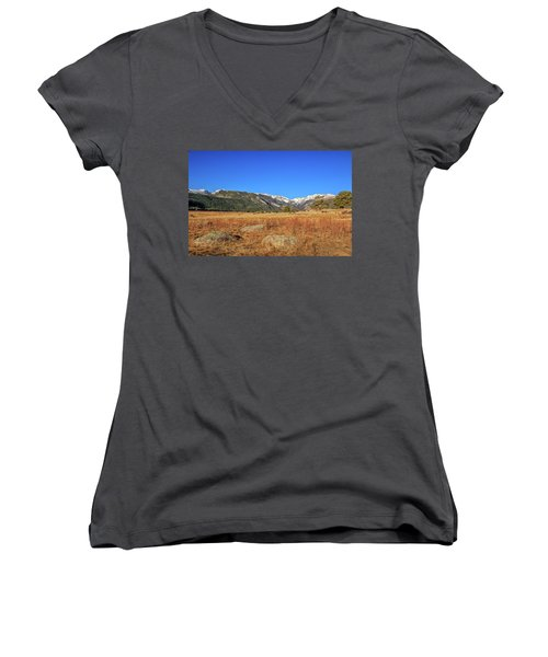 Women's V-Neck T-Shirt (Junior Cut) featuring the photograph Moraine Park In Rocky Mountain National Park by Peter Ciro