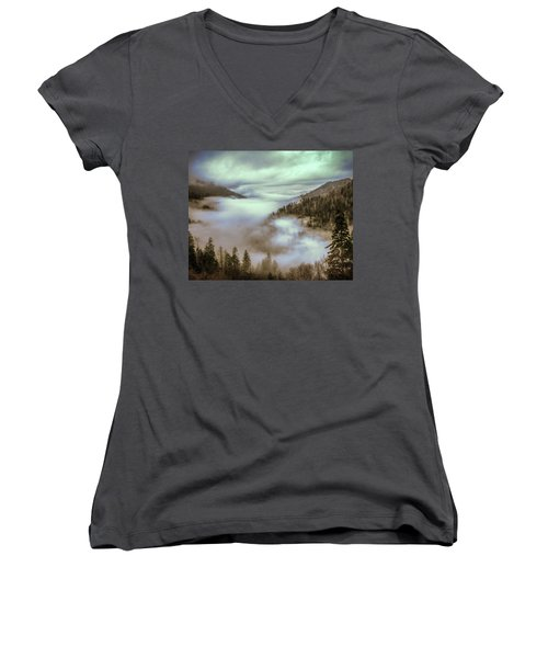 Women's V-Neck T-Shirt (Junior Cut) featuring the photograph Morning Mountains II by Rebecca Hiatt