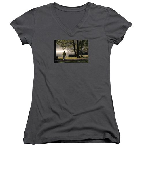 Women's V-Neck T-Shirt (Junior Cut) featuring the photograph Morning Walk by Inge Riis McDonald