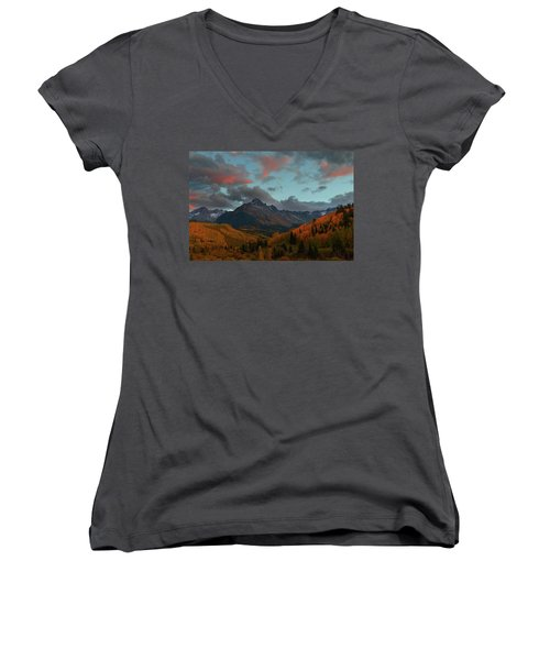 Women's V-Neck T-Shirt (Junior Cut) featuring the photograph Mount Sneffels Sunset During Autumn In Colorado by Jetson Nguyen