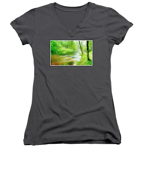 Mountain Stream, Pocono Mountains, Pennsylvania Women's V-Neck T-Shirt