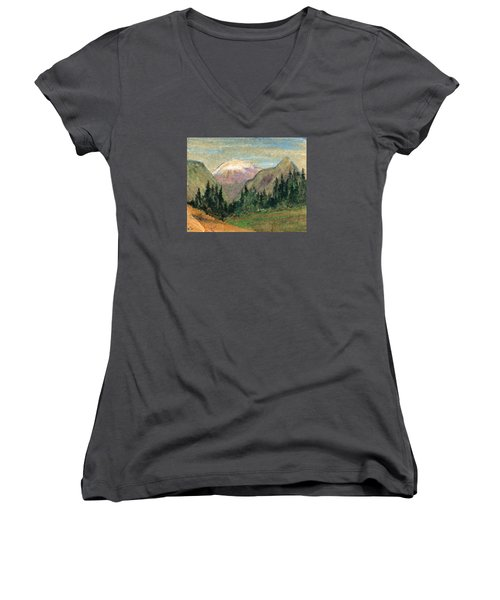Mountain View Women's V-Neck T-Shirt (Junior Cut) by R Kyllo
